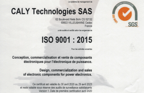 CALY Technologies is ISO 9001:2015 certified!